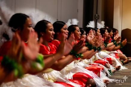 Tongan students perform a cultural item.